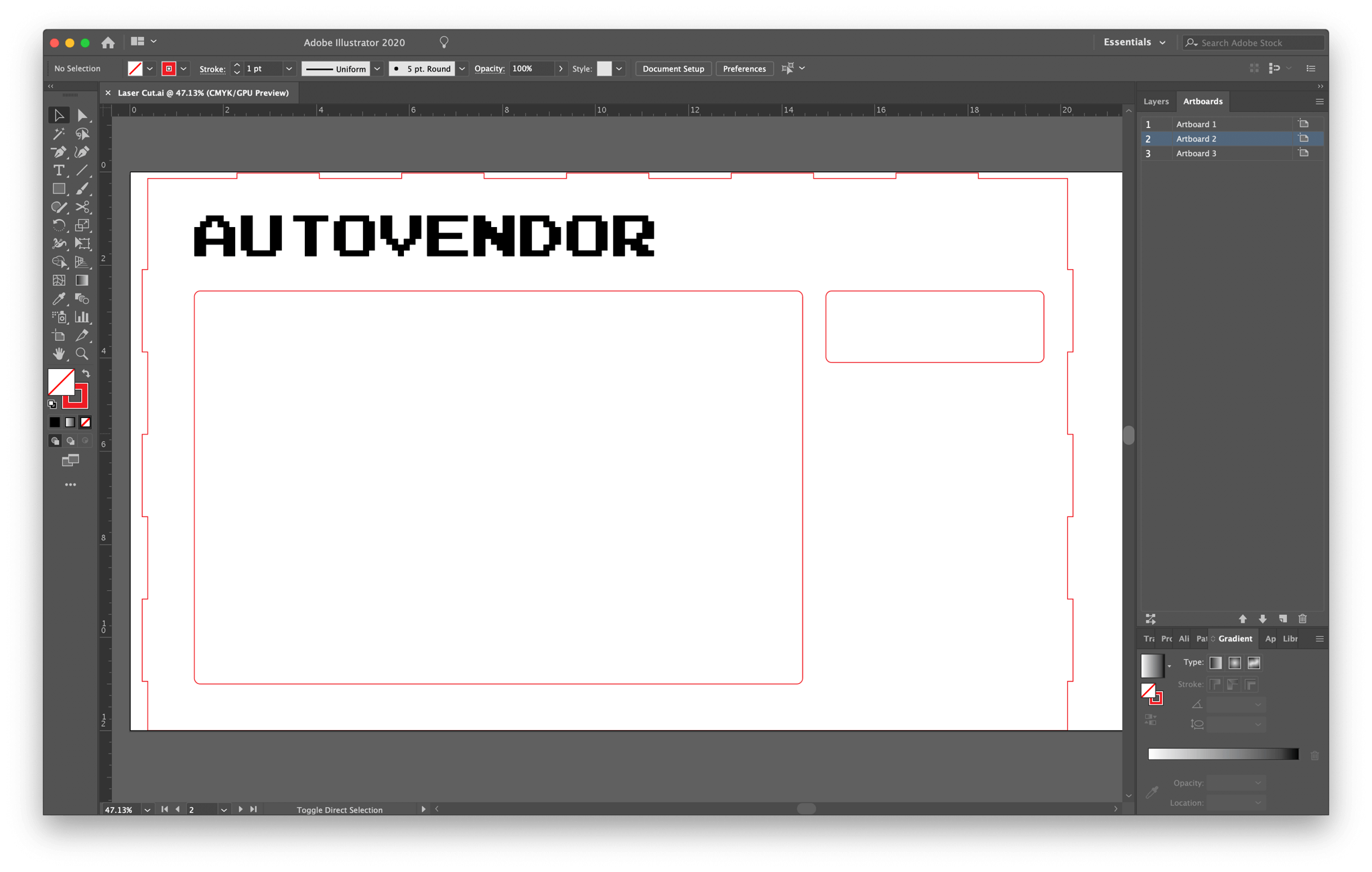 Screenshot of front panel cutting/engraving pattern in Adobe Illustrator
