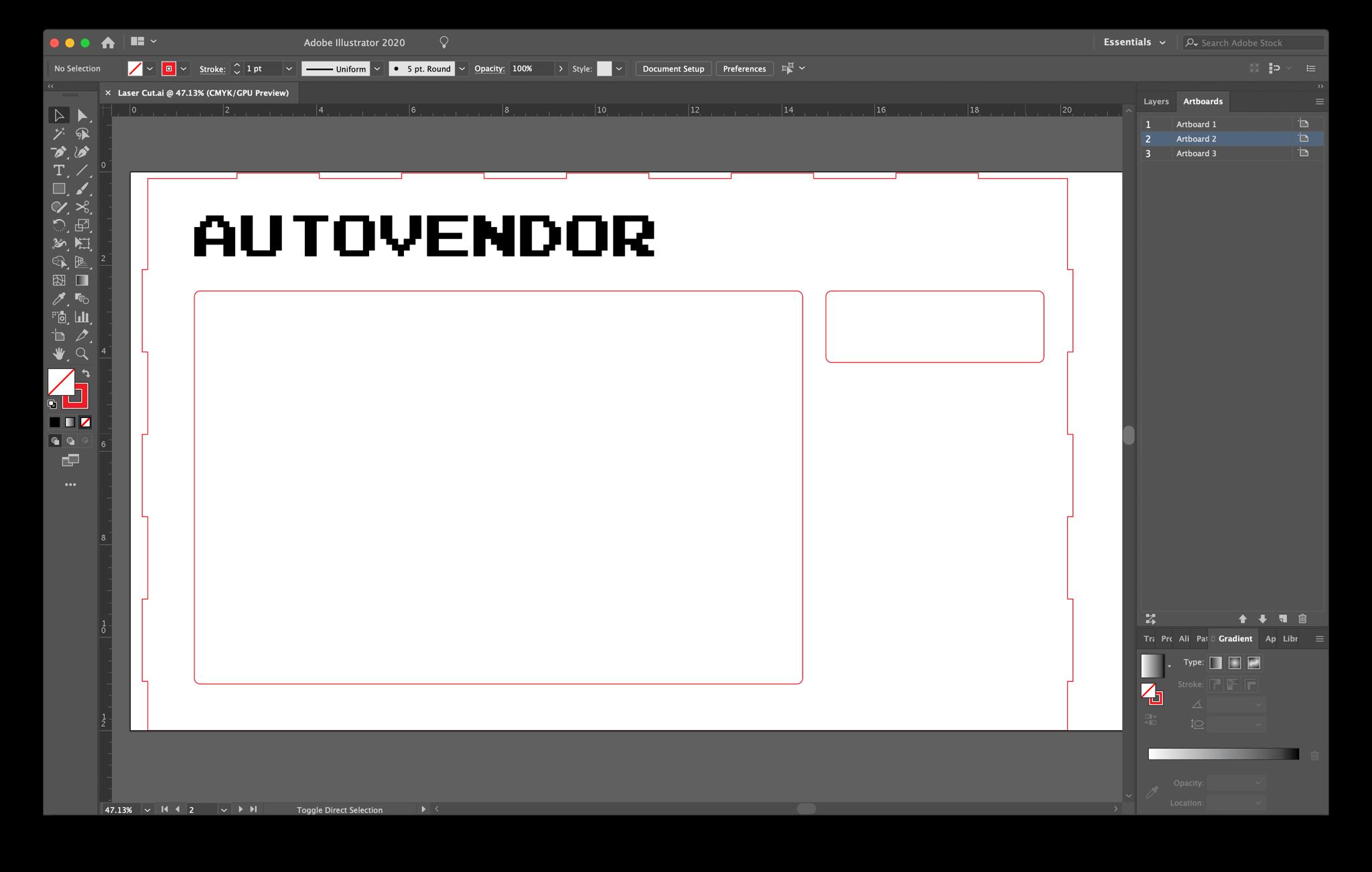 Screenshot of front panel cutting/engraving pattern in Adobe Illustrator