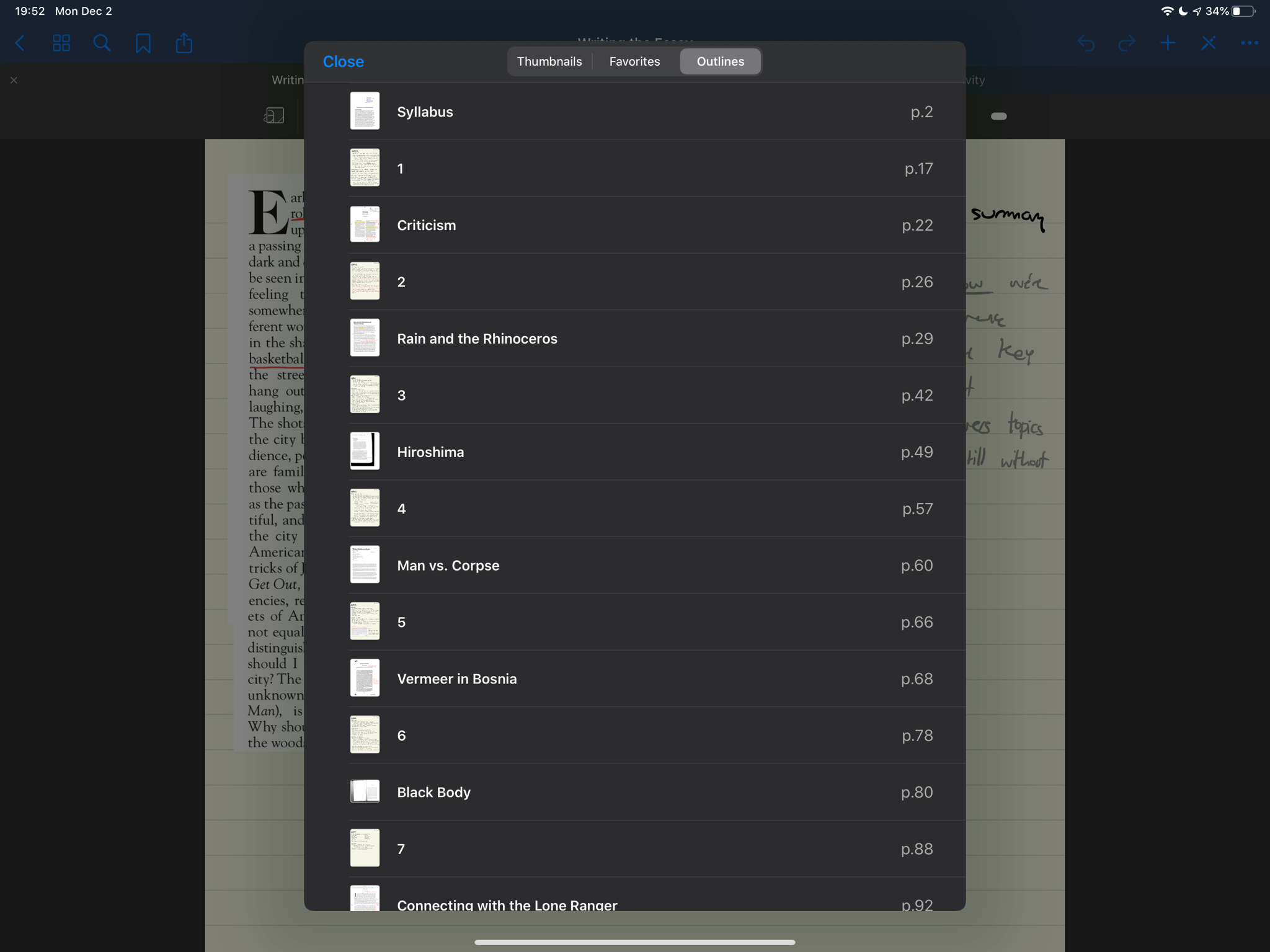 Outline view in GoodNotes, giving quick access to each class + reading