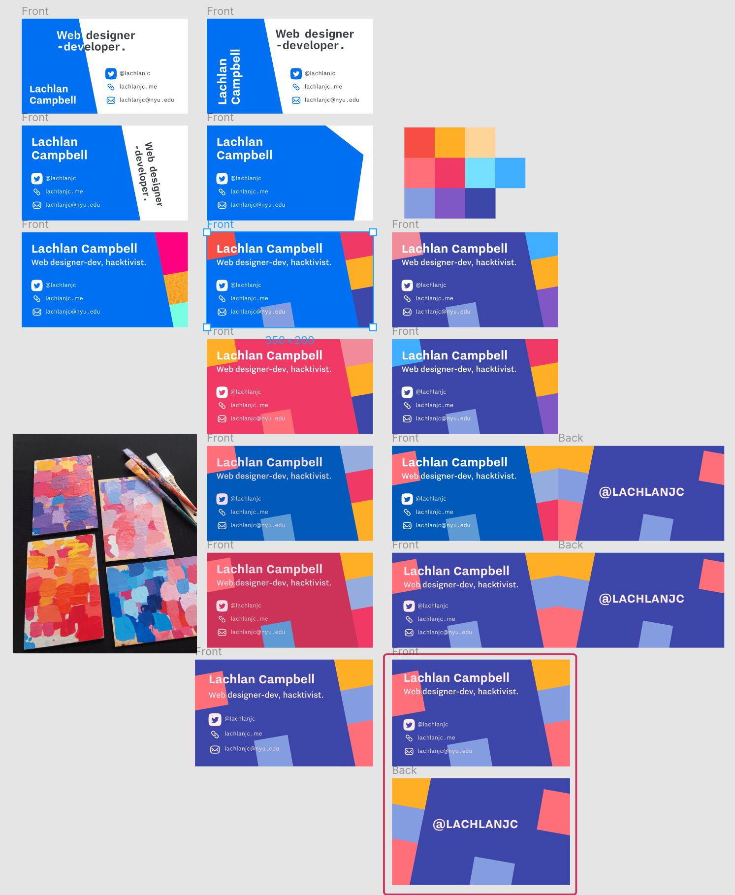 Screenshot from designing my business cards in Figma