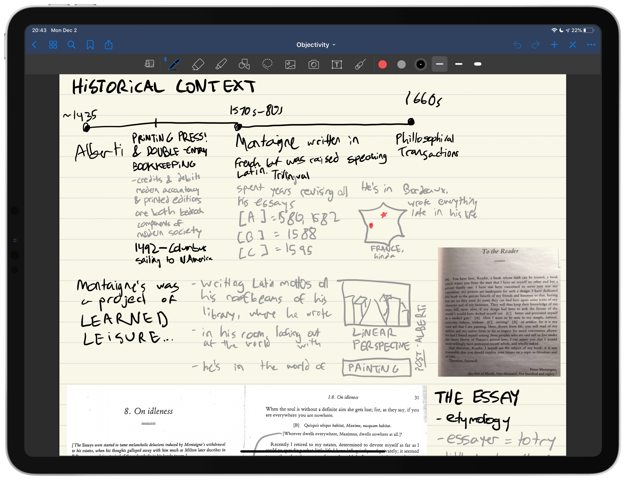 GoodNotes on iPad with my a note from my Objectivity class
