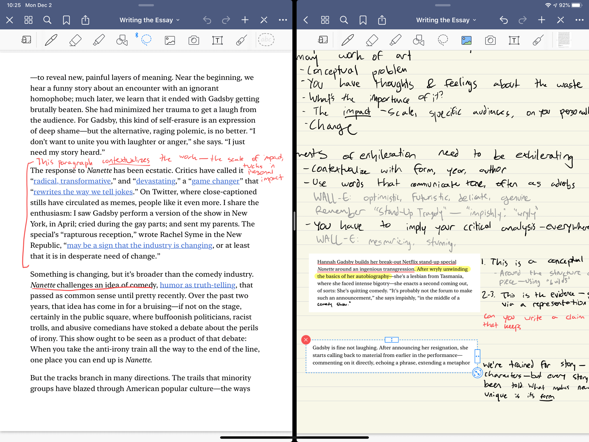 Using a 50-50 Split Screen in GoodNotes with a reading next to class notes