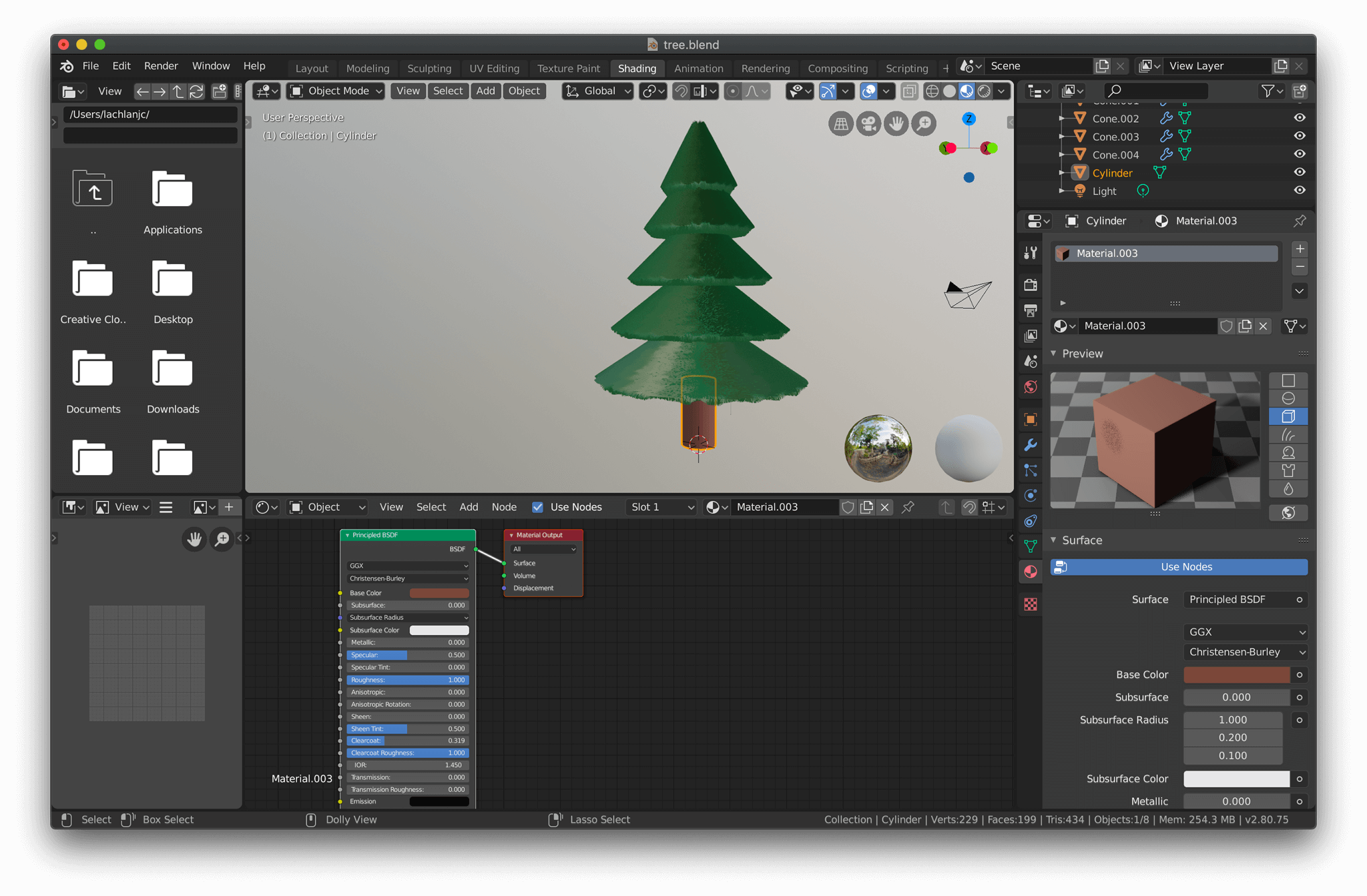 Modeling the tree in Blender